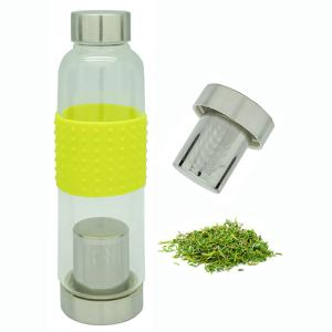 Single Wall Glass Tea Bottle with Strainer