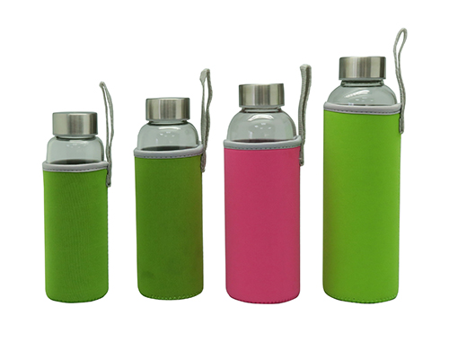 Portable Single Wall Glass Water Bottle With Protective Bag