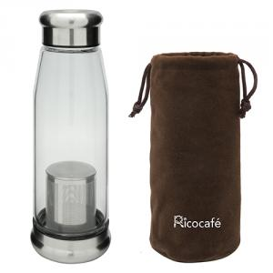 Glass Water Bottle with Protective Bag & Strainer
