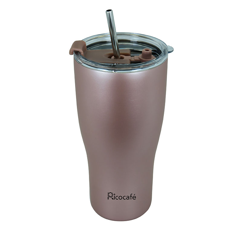 Stainless Steel Vacuum Coffee Mug 30oz Black Rose Gold