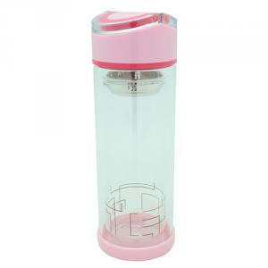 Double Wall Glass Bottle with Strainer, Folding Handle 300ml